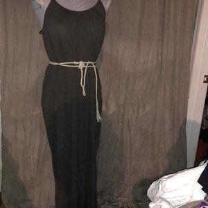 anthropologie velvet gray rope belt maxi dress M